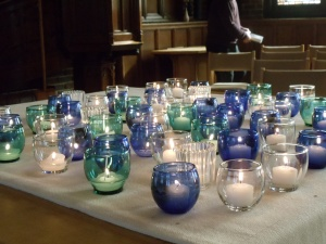 Image of candles on the Table in Loehe Chapel.